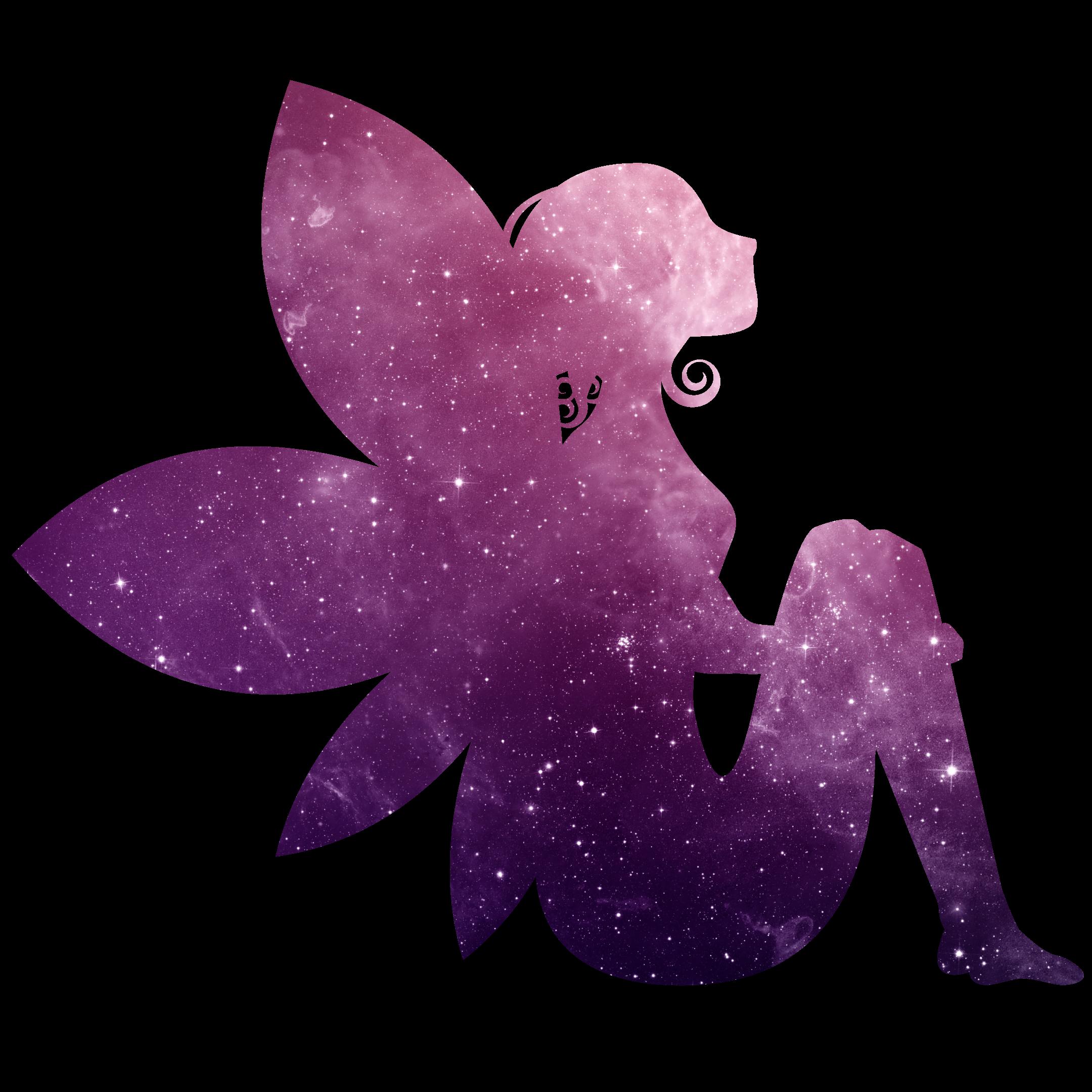Fee Elfe lila Glitzer Universum Sternenhimmel magisch verzaubert