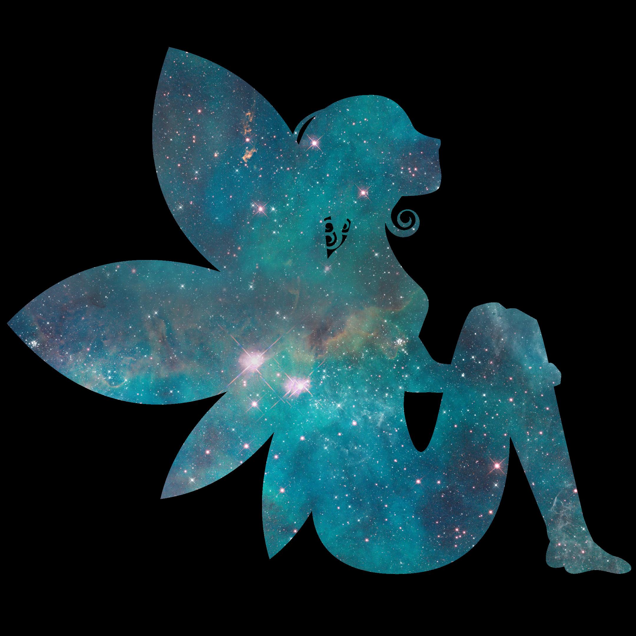 Fee Elfe türkis blau Glitzer Universum Sternenhimmel magisch verzaubert